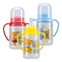 Бутылочка детская КУРНОСИКИ 11000 с ручками и силикон. соской 125мл c 6 мес.