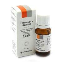Ретинола ацетат фл.-кап.(р-р д/приема внутрь и наружн. прим. масляный) 3,44% 10мл
