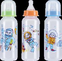 Бутылочка детская КУРНОСИКИ 11001 с силикон. соской и крышкой с рожд.125мл