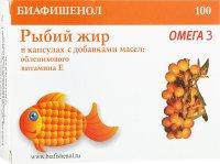 """Рыбий жир """"Биафишенол"""" с витамином Е и облепихой"""