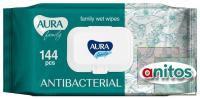 Салфетки AURA Family влажн. антибактериальные №144 с крышкой