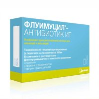 Флуимуцил-антибиотик ИТ фл.(лиоф. д/приг. р-ра д/ин.) 500мг №3 + р-ль