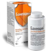 Банеоцин бан.(пор. д/наружн. прим.) 250МЕ/г + 5000МЕ/г 10г с дозатором