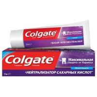 Зубная паста COLGATE Максимальная защита от кариеса + нейтрализатор сахарных кислот 75мл