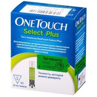 """Тест-полоска ONE TOUCH д/глюкометра """"Оne Touch Select plus"""" №50"""