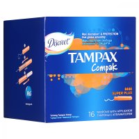 Тампоны гигиенические TAMPAX Compak Super Plus №16 с апплик.