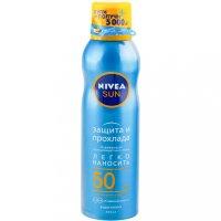 """NIVEA Sun спрей солнцезащ. """"Защита и Прохлада"""" SPF-50 200мл"""