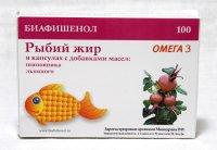 """Рыбий жир """"Биафишенол"""" с маслом шиповника и льна капс. №100"""